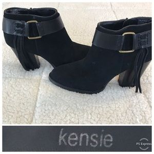 KENSIE Massey Black Fringe Booties